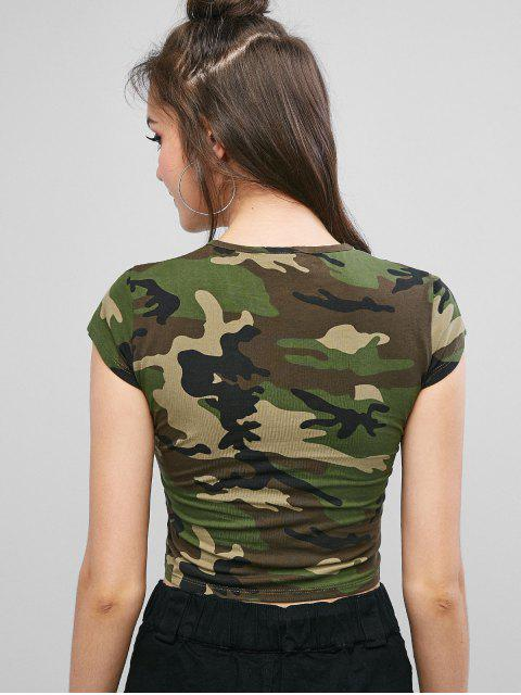 Tee-shirt camouflage graphique à lettres - ACU Camouflage M Mobile