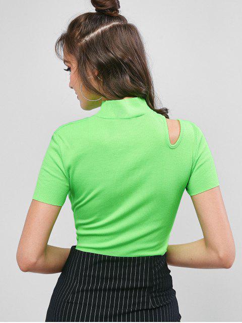 T-shirt Court Découpé à Col Haut - Vert M Mobile