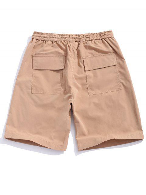Shorts empalmados con solapa con bolsillo de color y bolsillo - Camel Marrón XS Mobile