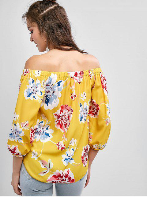 women's Off Shoulder Floral Print Knotted Blouse - YELLOW S Mobile