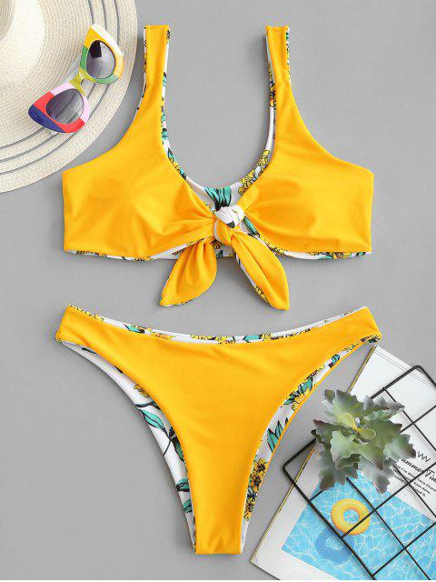 women's ZAFUL Reversible Floral Tied Tank Bikini Swimwear - WHITE M Mobile