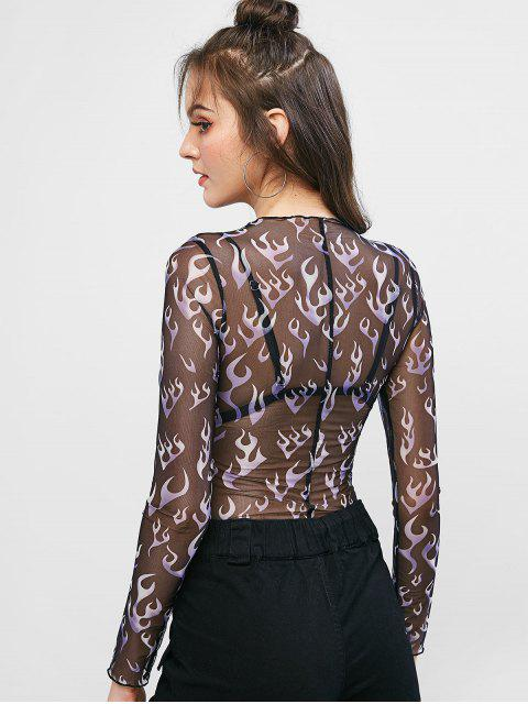 sale Long Sleeve See Thru Flame Print Top - MULTI-A S Mobile
