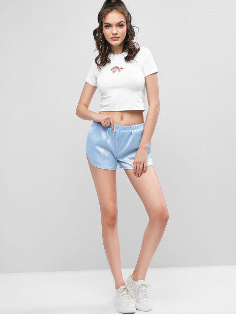 women Cropped Mushroom Floral Embroidered Tee - WHITE S Mobile