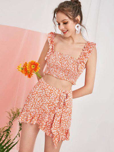 8980af8b9500 ZAFUL Smocked Tiny Floral Top And Ruffles Skirt Set - Basket Ball Orange M  ...