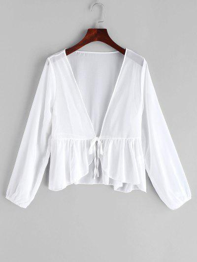 84a004383e Tie Front Flounce Sheer Cover-up - White - White ...