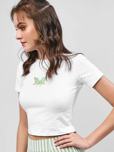 4aad26d21c ... Grundlegendes Geerntetes Schmetterling -Gesticktes T-Shirt - Weiß M
