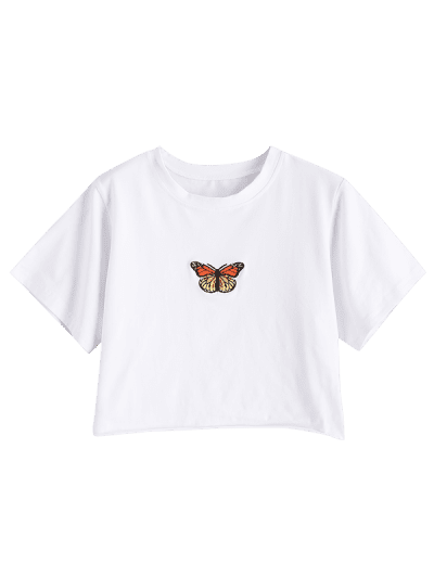 Raw Hem Butterfly Embroidered Cropped Tee, White