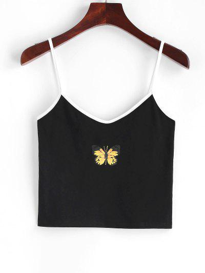 Contrast Cropped Butterfly Cami Top - Black M