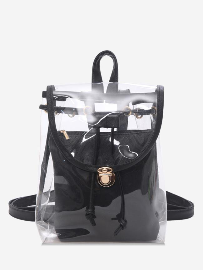 Cover Transparent Hasp Satchel, Black