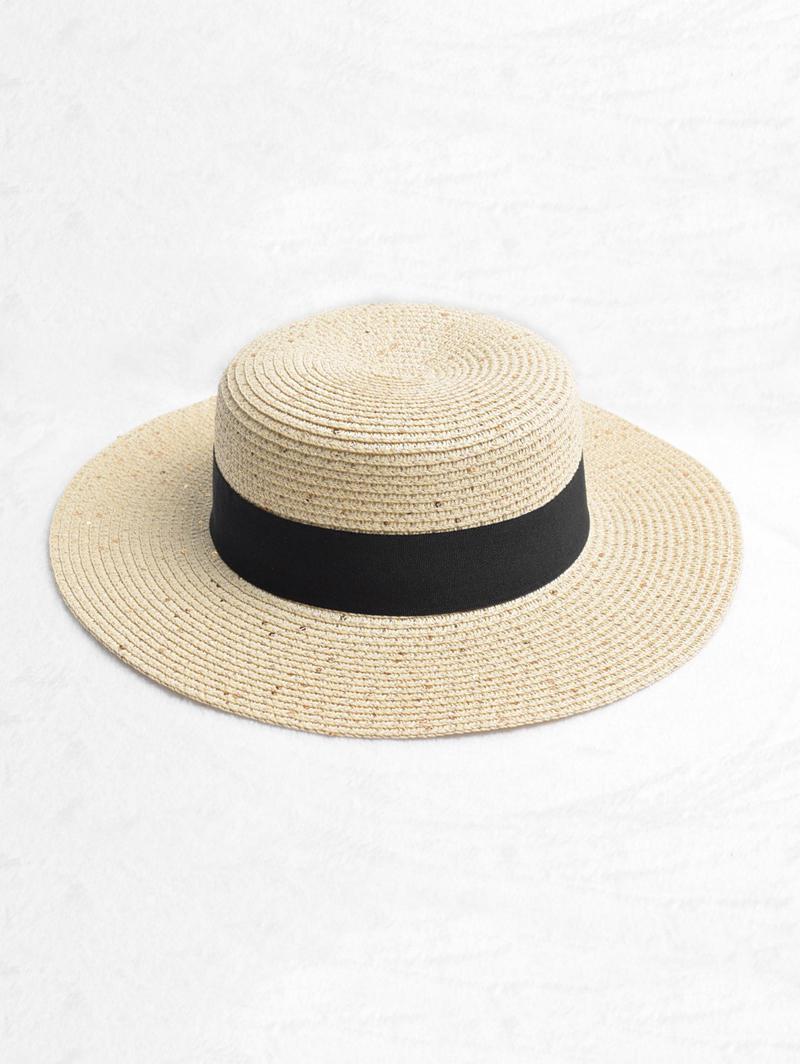 Round Strap Design Straw Sun Hat, Beige