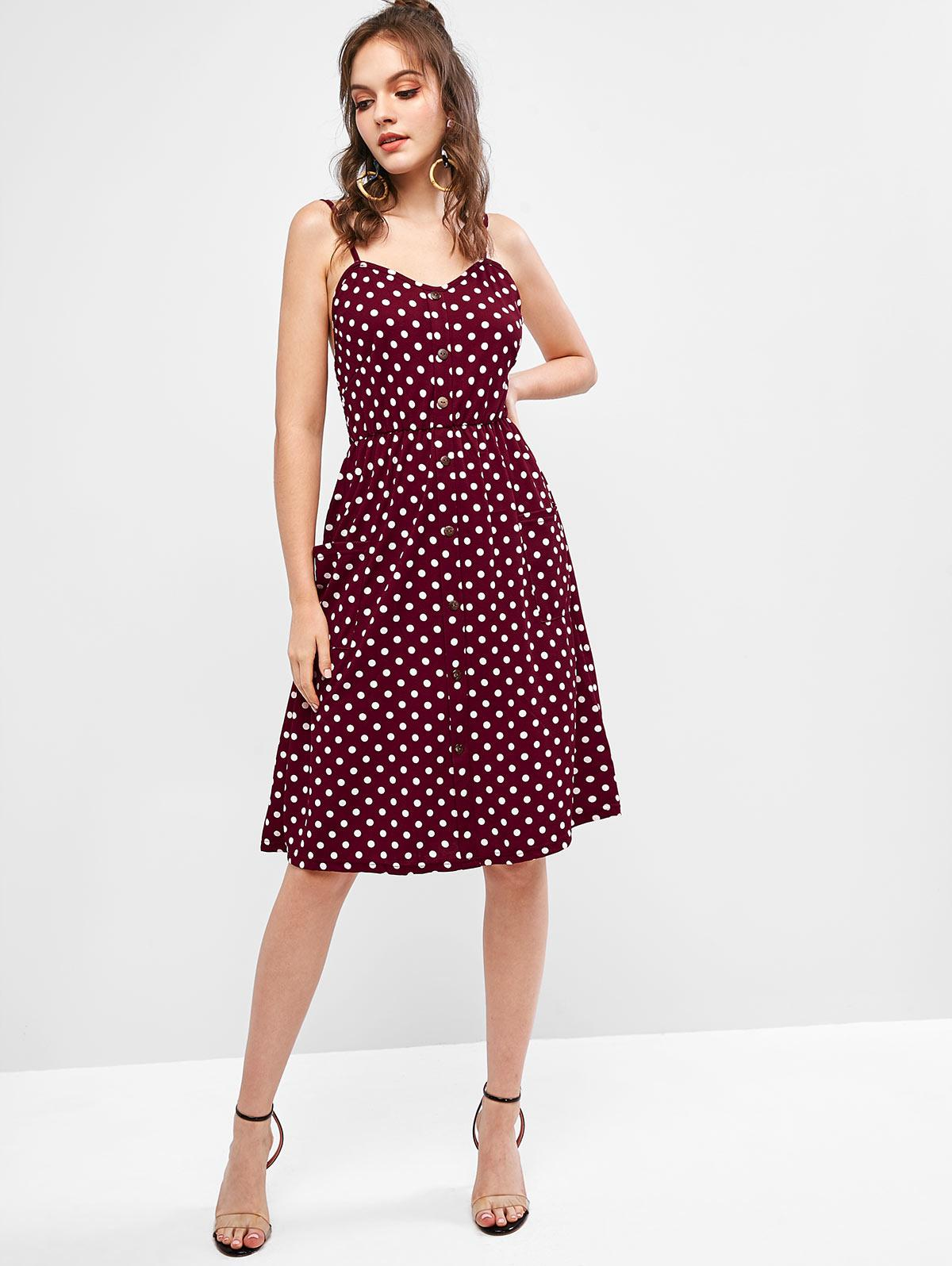 Buttons Smocked Back Polka Dot Cami Dress, Red
