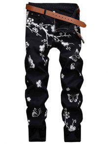زهرة الفراشة المشهد الحبر اللوحة طباعة جينز - أسود 32