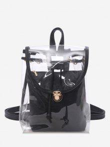 غطاء شفاف غلق بمشبك حقيبة - أسود
