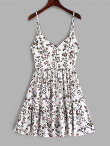 أزرار ZAFUL طباعة الأزهار ألف خط كامي اللباس - أبيض S