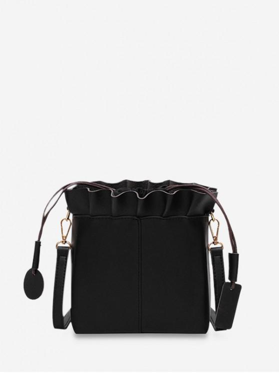Bolso de hombro retro con volantes - Negro