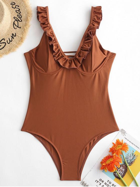 chic ZAFUL Ruffle Lace Up Cutout Swimsuit - RUST XL