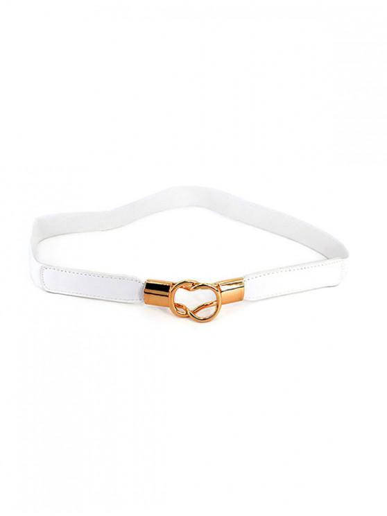 online PU Leather Decor Elastic Waist Belt - WHITE