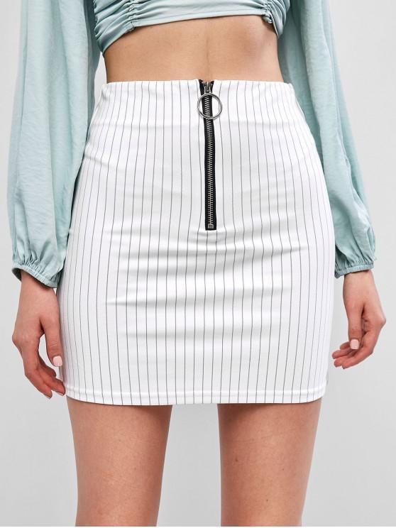 Minifalda de rayas con media cremallera - Blanco L
