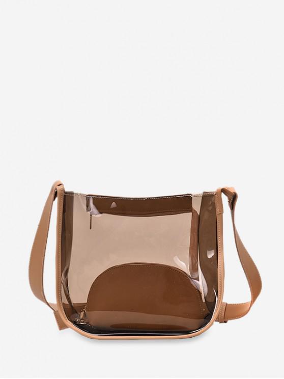 unique Transparent PVC Patch Bucket Bag - LIGHT BROWN