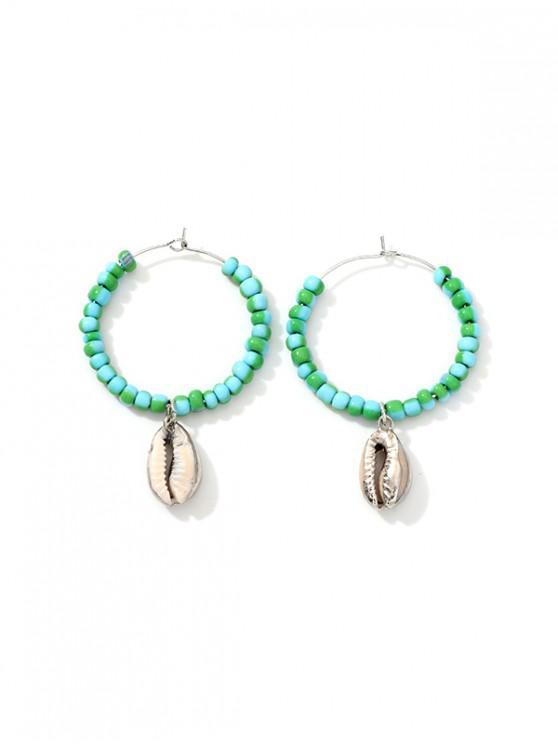 trendy Shell Pendant Beaded Hoop Earrings - CELESTE
