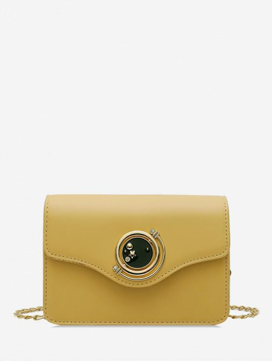 unique Star Diamante Buckle PU Leather Crossbody Bag - YELLOW