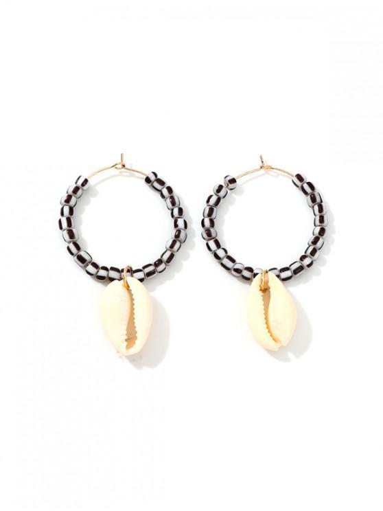 hot Shell Pendant Beaded Hoop Earrings - GRAY