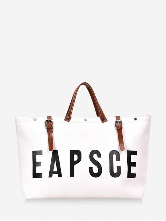 outfits Letter Graphic Large Capacity Canvas Tote Bag - WHITE