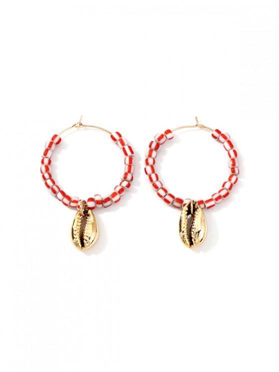 shop Shell Pendant Beaded Hoop Earrings - PINK