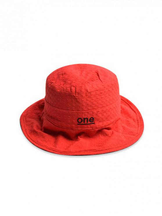 womens One Embroidery Bucket Hat - RED