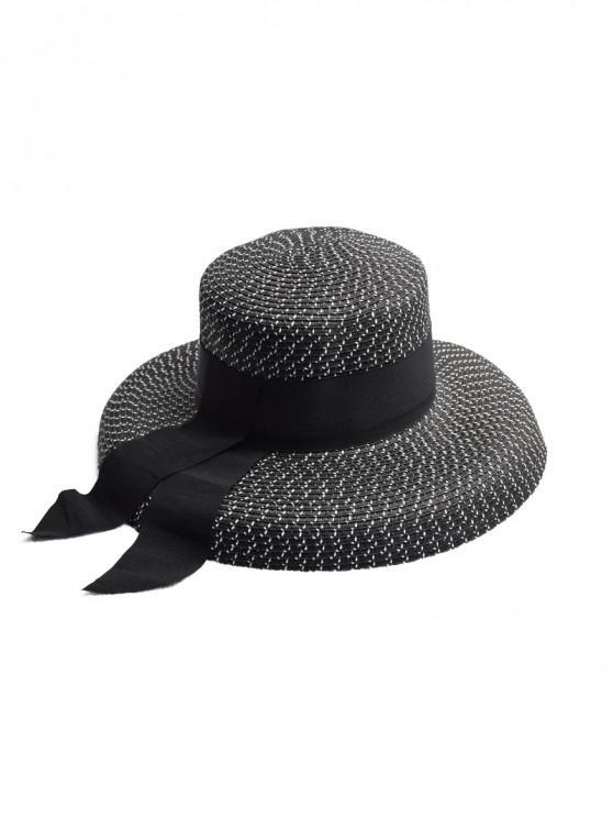 Sombrero de paja de la decoración de la cinta - Negro
