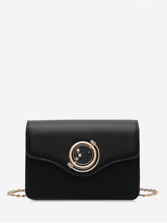 new Star Diamante Buckle PU Leather Crossbody Bag - BLACK