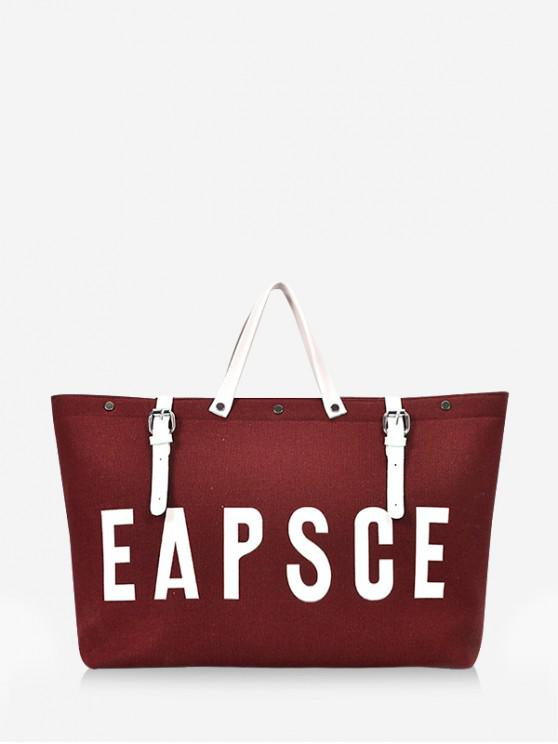 trendy Letter Graphic Large Capacity Canvas Tote Bag - RED DIRT