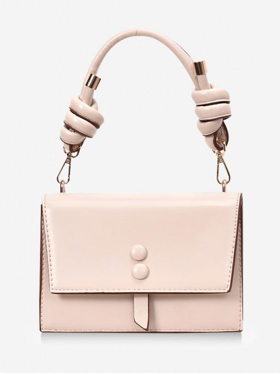 chic Cover Button Knot Rectangle Handbag - BEIGE