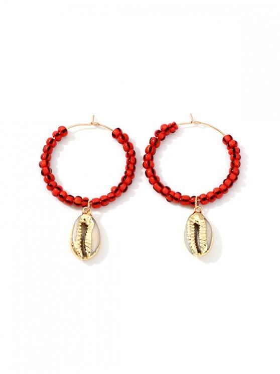 unique Shell Pendant Beaded Hoop Earrings - RED