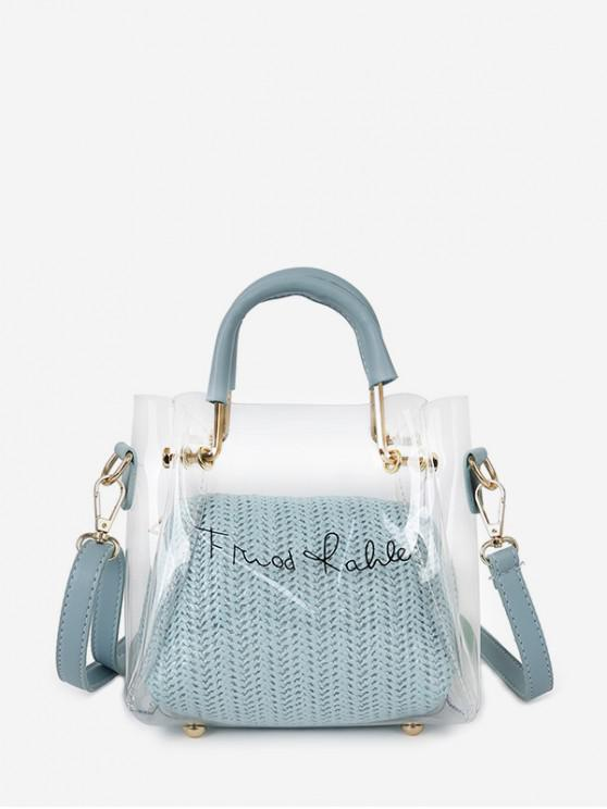 womens Character Print Transparent Handbag Set - LAVENDER BLUE