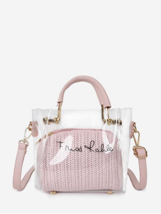 ladies Character Print Transparent Handbag Set - PINK