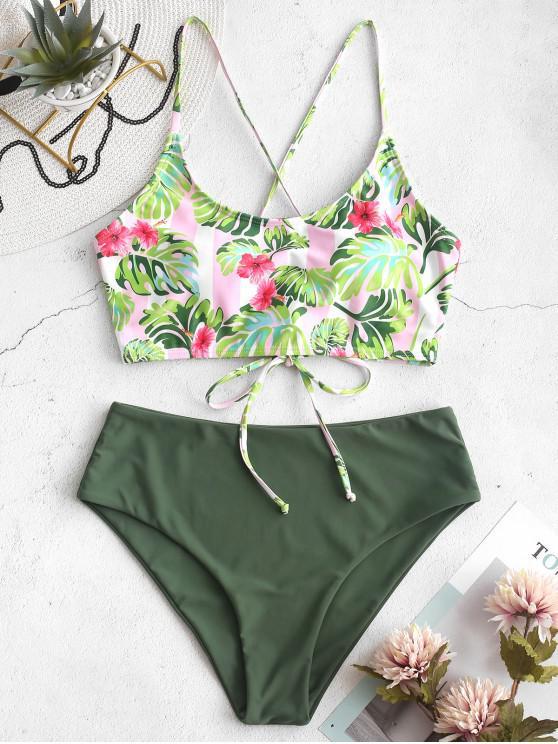 shop ZAFUL Flower Palm Lace Up Mix and Match Tankini Swimwear - MULTI-A S