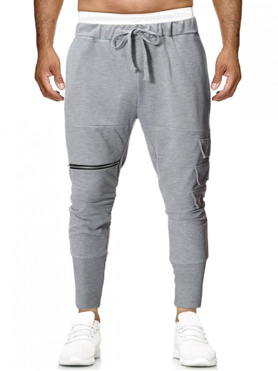 hot Layered Side Pocket Solid Color Knit Jogger Pants - GRAY GOOSE L