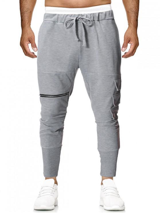 Bolsillo lateral con capas de color sólido de punto pantalones jogger - Ganso Gris 2XL