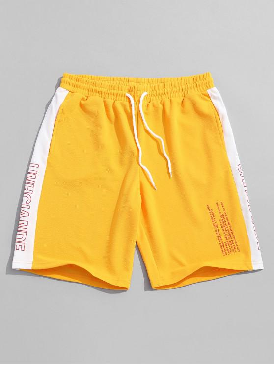 shop Letters Print Color Block Panel Shorts - SUN YELLOW M