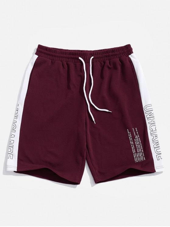 latest Letters Print Color Block Panel Shorts - RED WINE S