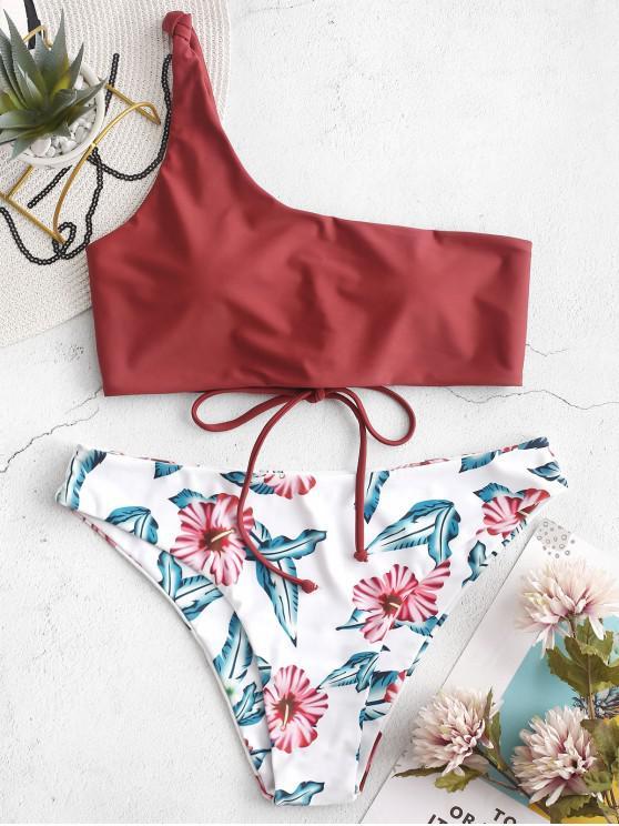 ZAFUL Lace Up un hombro traje de baño Bikini floral - Castaño Rojo M