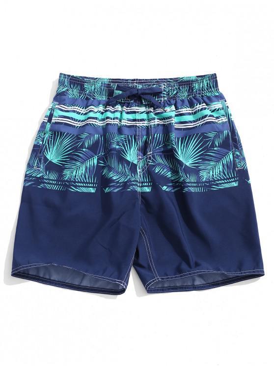 Pantalones cortos con estampado de rayas de hojas tropicales - Multicolor L