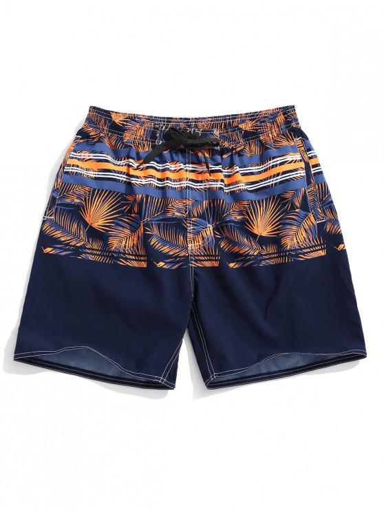 sale Tropical Leaf Striped Print Board Shorts - MULTI-C L