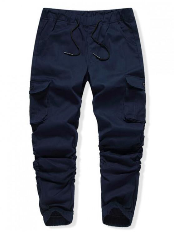 Pantalones de chándal casuales con bolsillo de solapa lateral elástico de color sólido - Cadetblue 38