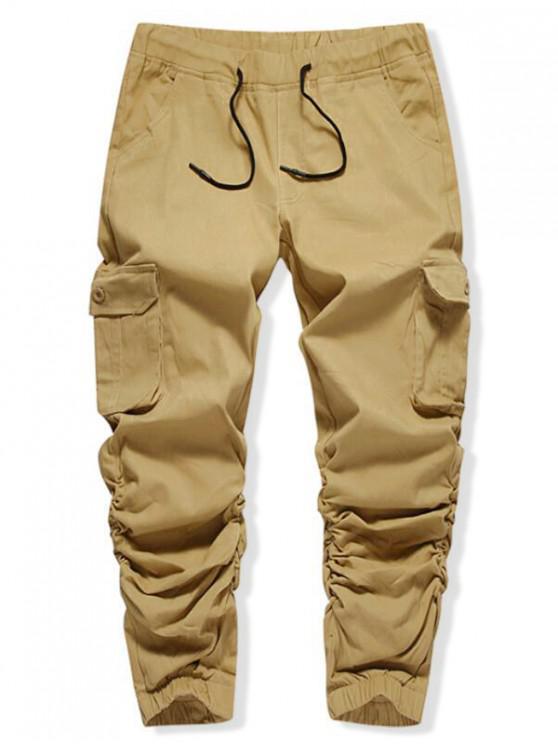 Pantalones de chándal casuales con bolsillo de solapa lateral elástico de color sólido - Camel Marrón 32