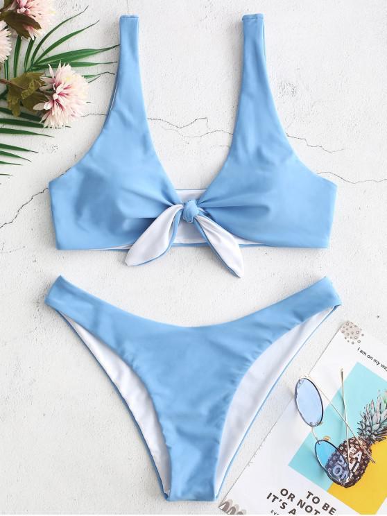 fashion ZAFUL Reversible Knotted Plunging Bikini Swimwear - LIGHT SKY BLUE M