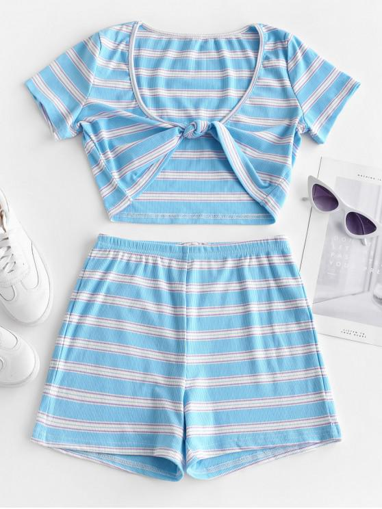 d02e42a9 29% OFF] [POPULAR] 2019 Twist Front Striped Crop Top And Shorts Set ...