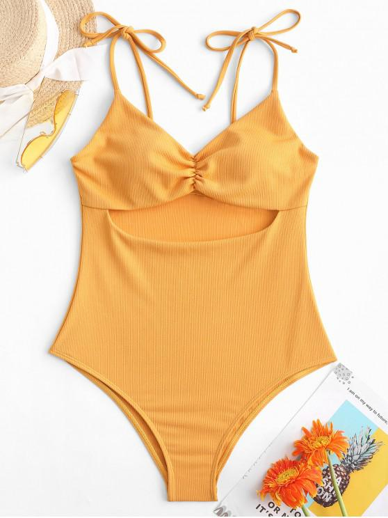 womens ZAFUL Ribbed Cut Out Tie Shoulder Ruched Swimsuit - BEE YELLOW L