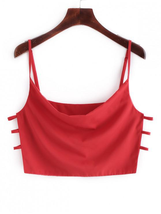 affordable ZAFUL Ladder Cut Out Crop Tank Top - RED S